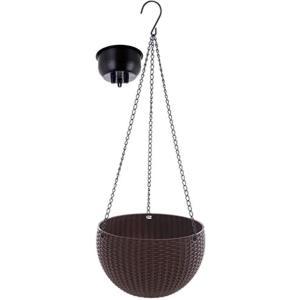 改良版 ハンギングバスケット ハンギングポット ハンギングプランター 植木鉢 丸 吊り下げ チェーン付き(ブラウン, 中) sevenleaf