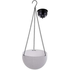 改良版 ハンギングバスケット ハンギングポット ハンギングプランター 植木鉢 丸 吊り下げ チェーン付き(ホワイト, 小) sevenleaf