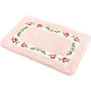玄関 マット キッチン 台所 バス 浴室 寝室 トイレ ハート 型 滑り止め 花柄(ピンク, 長方形)|sevenleaf