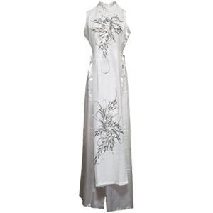 ベトナム 民族 衣装 アオザイ 襟付き 袖なし レディース パンツ(ホワイト, S)|sevenleaf