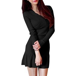 レディース 胸 カシュクール ミニ ワンピース 長袖 タイト Vネック ニット フリル かわいい オシャレ dress mini(ブラック)|sevenleaf