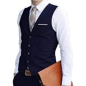 ジレ ベスト フォーマル スリム フィット メンズ ビジネス カジュアル スーツ 生地 2XL(ネイビー, 2XL(日本サイズ L)) sevenleaf