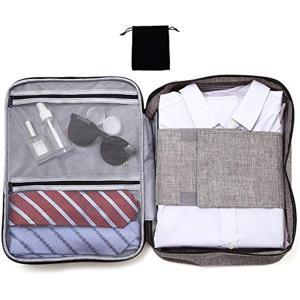 シャツケース 収納 出張 ワイシャツ2-4枚収納 たたみプレート2枚と小物入れ付 重さ180g(グレ...