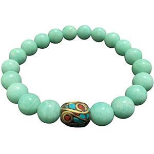 天然石 パワーストーン 青緑色 エスニック ブレスレット AAAA 10ミリ アジアン ハンドメードビーズ 合金真鍮 希望 幸運 平穏 自立心|sevenleaf