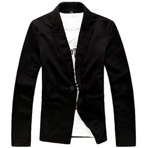 ナガポNAGAPO メンズ キレイめ ジャケット カジュアル テーラード ビジネス 長袖 大きいサイズ も 春 秋(ブラック, L)|sevenleaf
