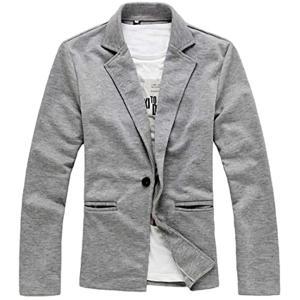 ナガポNAGAPO メンズ キレイめ ジャケット カジュアル テーラード ビジネス 長袖 大きいサイズ も 春 秋(ライトグレー, L)|sevenleaf
