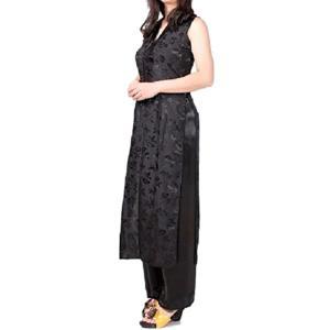 シルク アオザイ ドレス チャイナドレス 風 にも 黒 ベトナム 民族 衣装 XXXL(ブラック, XXX-Large)|sevenleaf