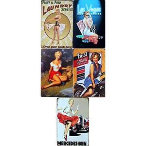(どう飾る?)アメリカンヴィンテージ風看板5枚セット、おすすめです。最近、街中やショッピングモールに...