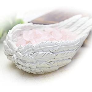 さざれチップ付・天使の羽皿 ブレスレットの浄化用 浄化皿 ローズクォーツさざれ石&専用ギフトボックス...