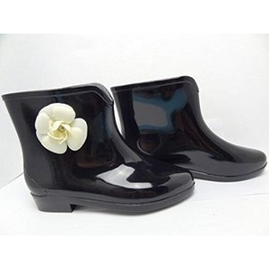美脚 ショート レイン ブーツ / 可愛い 花 ガーデン シューズ 雨靴 長靴 レディース 37[43212-37203](ブラック)|sevenleaf