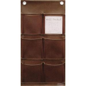 ウォールポケット ポストカード 合皮メッシュBR[W-430]|sevenleaf