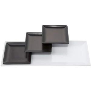 エムズスタイル オールブラックスクエアーセットトリプル XL XL白1枚 中皿黒3枚 184 56 ...