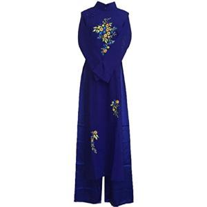 アオザイ ベトナム 民族 衣装 襟付き 長袖 レディース パンツ(ブルー, XXL)|sevenleaf