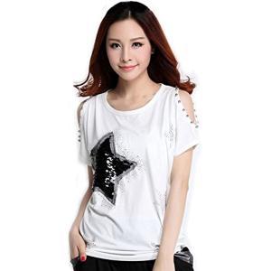 [MIKA&MAYA] オフショルダー 半袖 Tシャツ 星 カットソー レディース 大きいサイズ(オープンショルダー ホワイト XL, XL)|sevenleaf