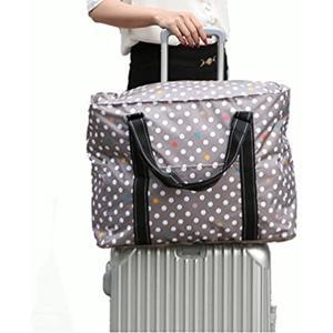 03c0f62127 トラベルバッグ 折り畳み コンパクト 大容量 ポケット付 生活防水 スーツケースベルト付 32L ドット柄(カーキ)