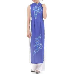 ベトナム 民族 衣装 アオザイ 襟付き 袖なし レディース パンツ(ブルー, XL)|sevenleaf