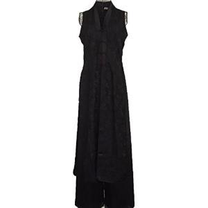 ベトナム 民族 衣装 アオザイ 襟付き 袖なし レディース パンツ XXL シルク ブラック(シルク ブラック, 2XL)|sevenleaf