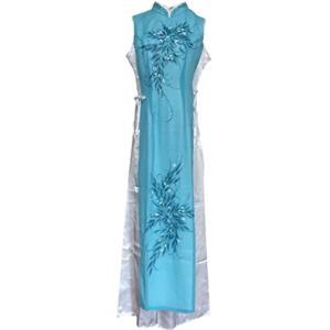 ベトナム 民族 衣装 アオザイ 襟付き 袖なし レディース パンツ(グリーン, XL)|sevenleaf