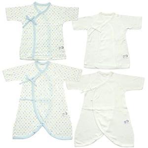 日本製 新生児肌着4点セット 星水玉&無地 メルマ加工フライス 50cm[MI1500-4](サックス, 50)の画像