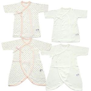 日本製 新生児肌着4点セット 星水玉&無地 メルマ加工フライス 50cm[MI1500-4](ピンク, 50)の画像