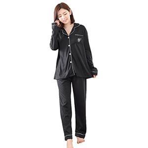 [MIKA&MAYA] パジャマ レディース 長袖 上下 セット ウェア 前開き シンプル ブラック(ブラック M, M)|sevenleaf
