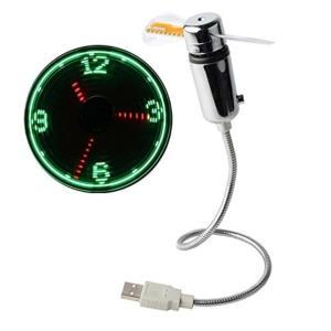ノーブランド品USB時計扇風機 CLOCK FAN[不明](シルバー) sevenleaf