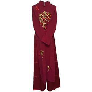 アオザイ ベトナム 民族 衣装 襟付き 長袖 レディース パンツ(ワイン, S)|sevenleaf