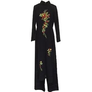 アオザイ ベトナム 民族 衣装 襟付き 長袖 レディース パンツ(ブラック, XXL)|sevenleaf