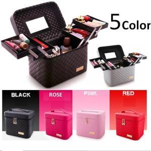 大容量6色選択可メイクボックス コスメボックス化粧台収納鏡付き軽量持ち運びPUレザー防水ブラック、ピンク、ローズ、レッド、オレンジ、シルバー