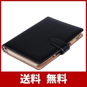 【Raccolta Luce】システム手帳 A5 20穴 19mm リング ルーズリーフ 使いやすい 黒 茶 (黒 ブラック)|sh-price