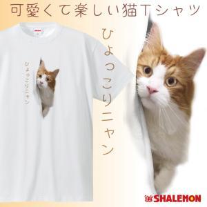 猫 ネコ Tシャツ おもしろ( ひょっこりニャン )( ポリエステル ドライ )面白 プレゼント メンズ レディース キッズ|shalemon