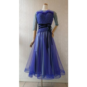 Chacott 新品 社交ダンス 衣装 レディース ワンピースドレス ブルー M|shallwedance