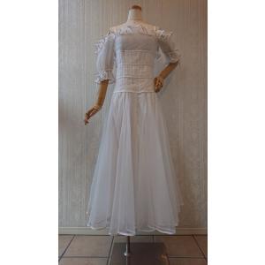 gentil 新品 社交ダンス 衣装 レディース ワンピースドレス ホワイト M|shallwedance