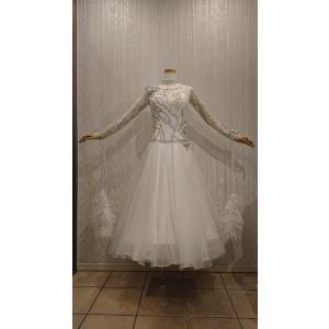 SD0013 社交ダンス 新品 激安 衣装 レディース スタンダードドレス ホワイト M|shallwedance