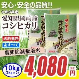農薬節減米 愛知県産コシヒカリ10kg (5kg×2) 平成...