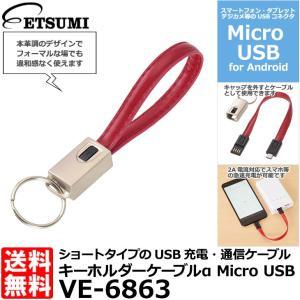 【メール便 送料無料】 エツミ VE-6863 キーホルダーケーブルα Micro USB レッド|shasinyasan