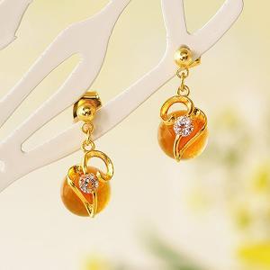 ピアス アクセサリー ジュエリー アレルギー 揺れる ゆれる 手作り ハンドメイド 日本製 プレゼント かわいい おしゃれ 大人 オレンジ ゴールド シンプル 小ぶり|shatti