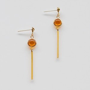 ピアス アクセサリー ジュエリー アレルギー 揺れる ゆれる 手作り ハンドメイド 日本製 プレゼント かわいい おしゃれ きれい ロング オレンジ ゴールド ガラス|shatti