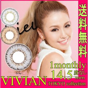 VIVIAN(ヴィヴィアン) シエルグレー/シエルブラウン/マールグレー 1ヶ月用2枚 度なし 直径14.5mm