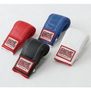 【送料無料】 パンチンググローブ (高級レザー) 黒 Mサイズ キックボクシング空手用 GLOBAL SPORTS グローバルスポーツ
