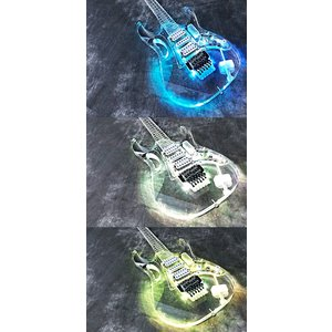 新品アクリル素材のオールクリスタルギター/ボディに虹色発光LED搭載/PU:HSH/ブリッジ:フロイ...