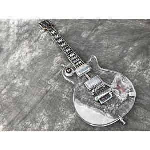 新品アクリル素材のクリスタルギターAP2/ボディとポジションマークに虹色発光LED搭載/ピックアップ...
