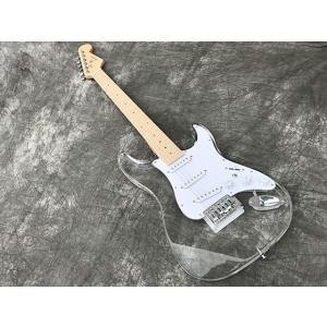 新品アクリル素材のクリスタルギターAP3/ボディとポジションマークに虹色発光LED搭載/ピックアップ...