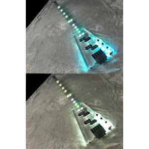新品アクリル素材のクリスタル・ヘッドレス4弦ベースAP#4/ボディとポジションマークに虹色発光LED...