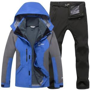 6色  メンズ スキーウェア スノーボードウェア アウトドア マウンテンパーカ 上下セット 厚手 防寒 フード付き