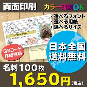 大人気!免許証名刺 ペット免許証 プレゼントにもおすすめ!両面印刷 選べる裏面 名刺作成 100枚 送料無料|shiawasemeishi