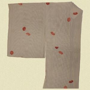 絽の着物 白黒×朱(リサイクル品)|shibokusansou