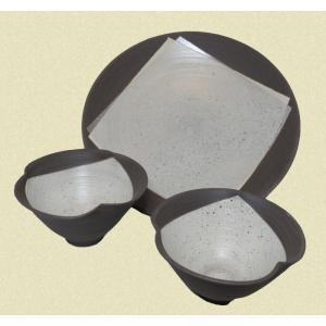 刷毛目 鉢&皿セット(鉢2点・皿1枚) shibokusansou