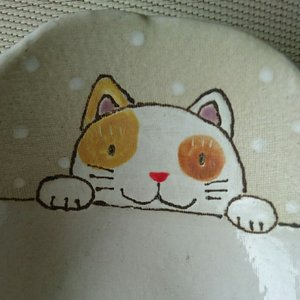 笠間焼 ねこのだえん皿 shibokusansou