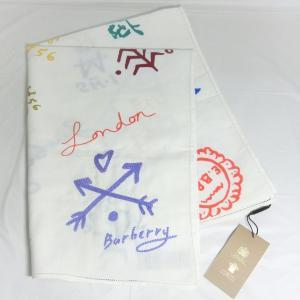 【送料無料】【未使用品】バーバリー BURBERRY シグネチャー ロゴ プリント 刺繍 ストール  4065436 ホワイト 総柄 コットン 麻|shichi-nishigaki